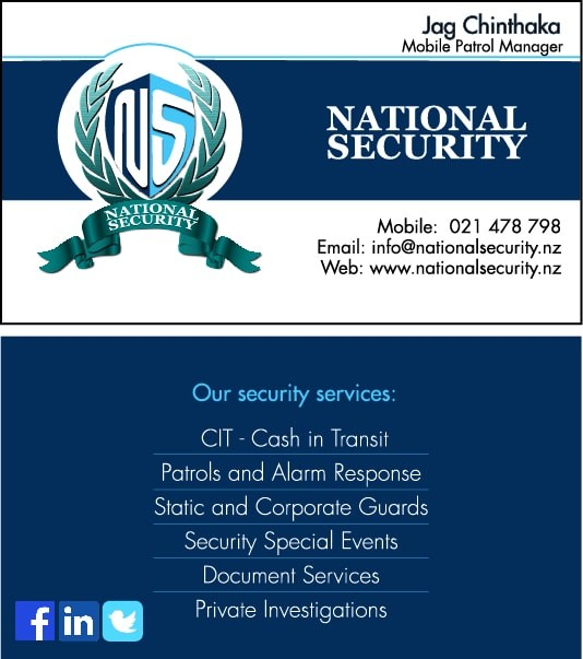 National Security Visiting Card